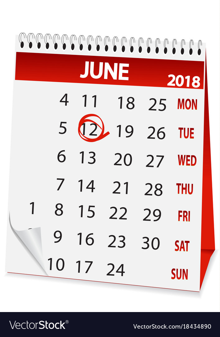Icon calendar for june 12 2018 Royalty Free Vector Image