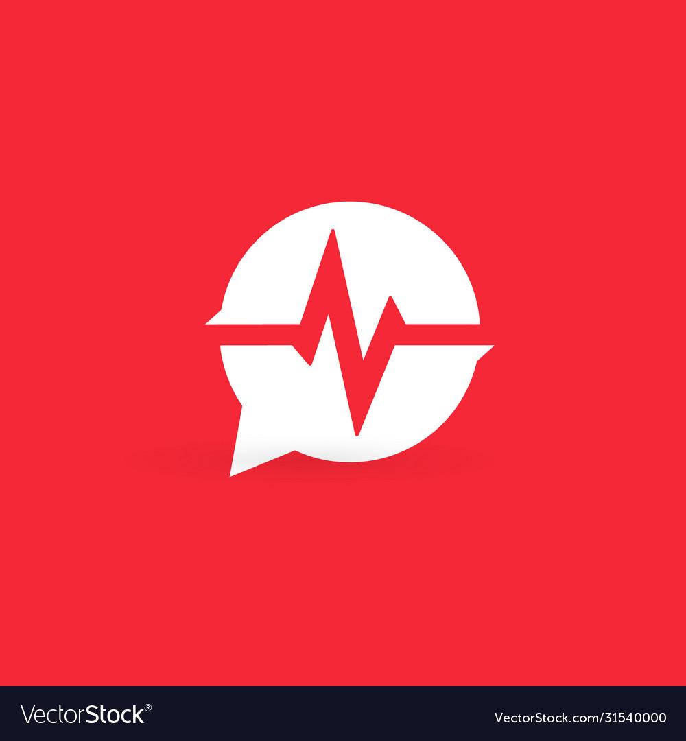 Cardiogram logo medical heart rate monitor emblem
