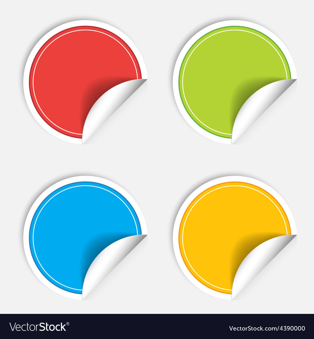 Colorful four blank stickers set Badge collection vector image