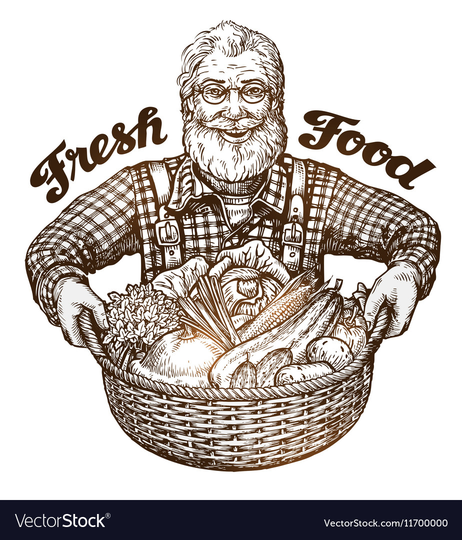 Farmer with basket of fresh vegetables Sketch vector image