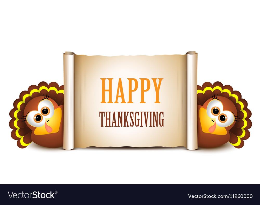 Happy Thanksgiving card Cartoon turkeys in a