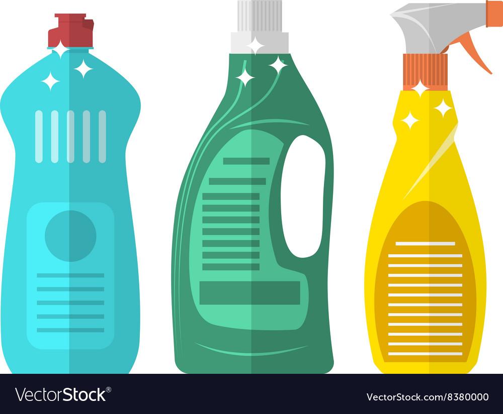 Household chemistry cleaning plastic bottles