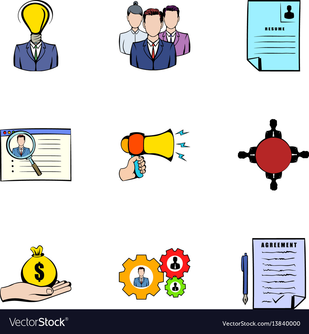 Interview icons set cartoon style