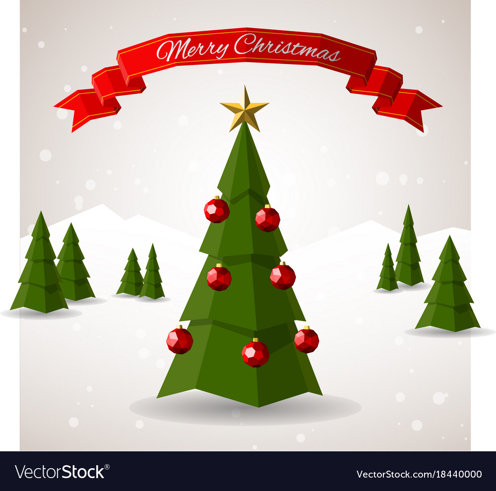 Christmas Tree Images Free Download.Low Poly Merry Christmas Tree