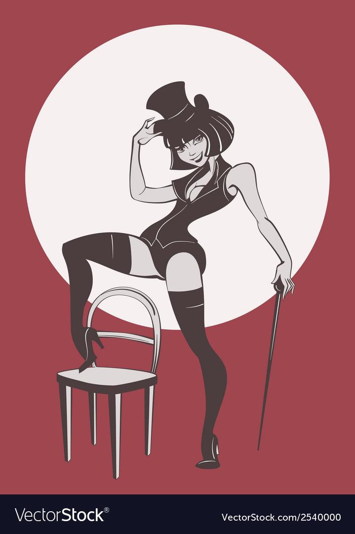 Perfomance of burlesque artist
