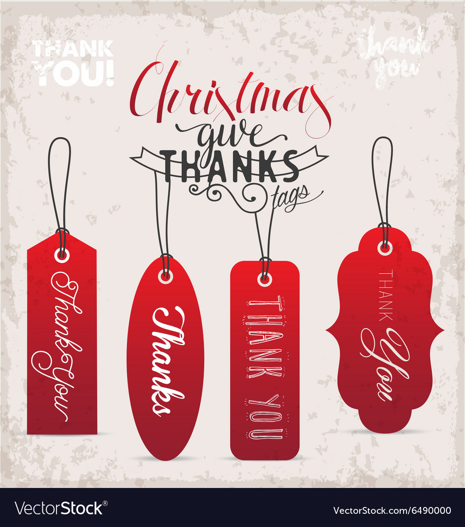 Red Christmas Gift Thank You Tags in Vintage Style