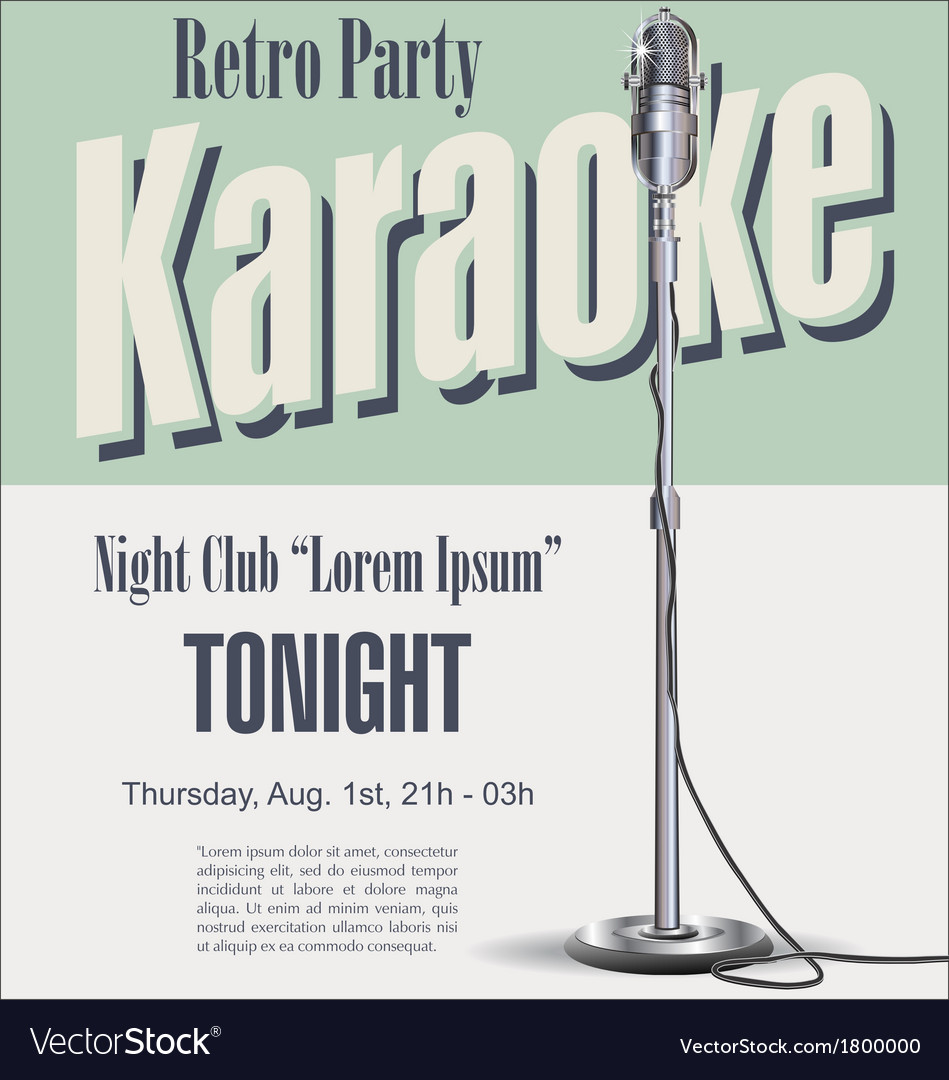 Retro party karaoke background vector image