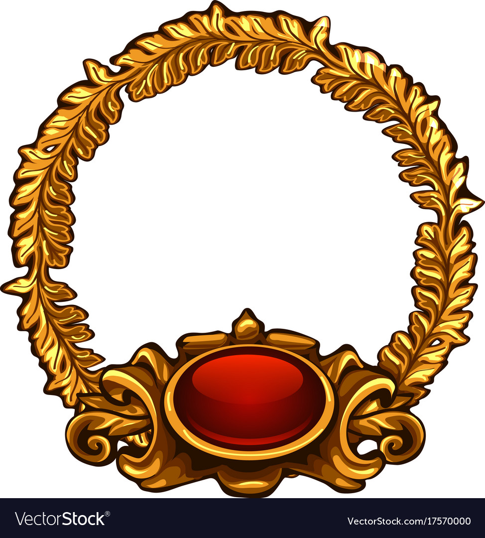 Round gold frame with red button and copy space vector image thecheapjerseys Image collections