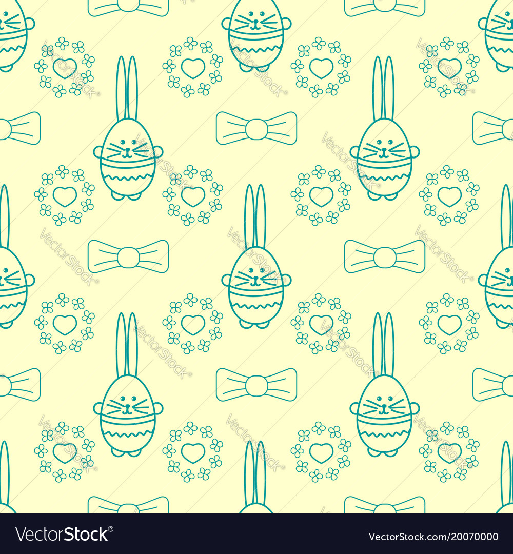 Seamless background with rabbit flowers vector image