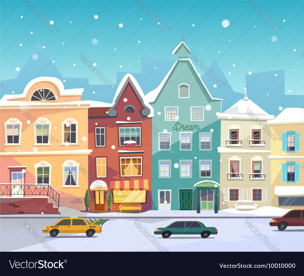 Sunny City street at Winter Cartoon buildings