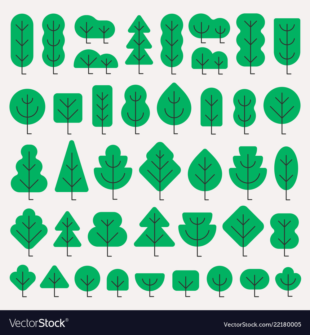 A set of trees of different shapes in simple flat