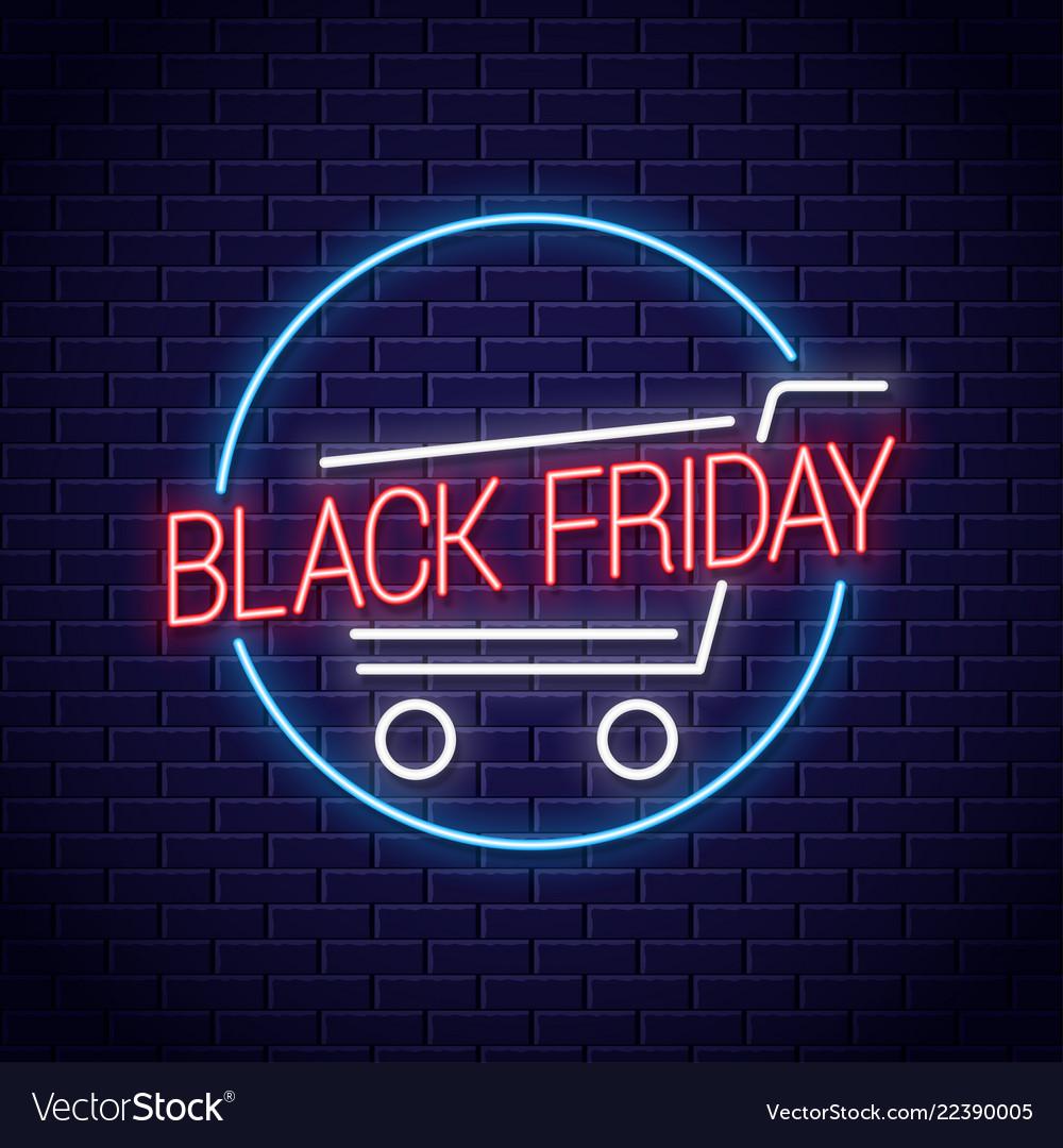 Black friday neon banner shopping cart for black