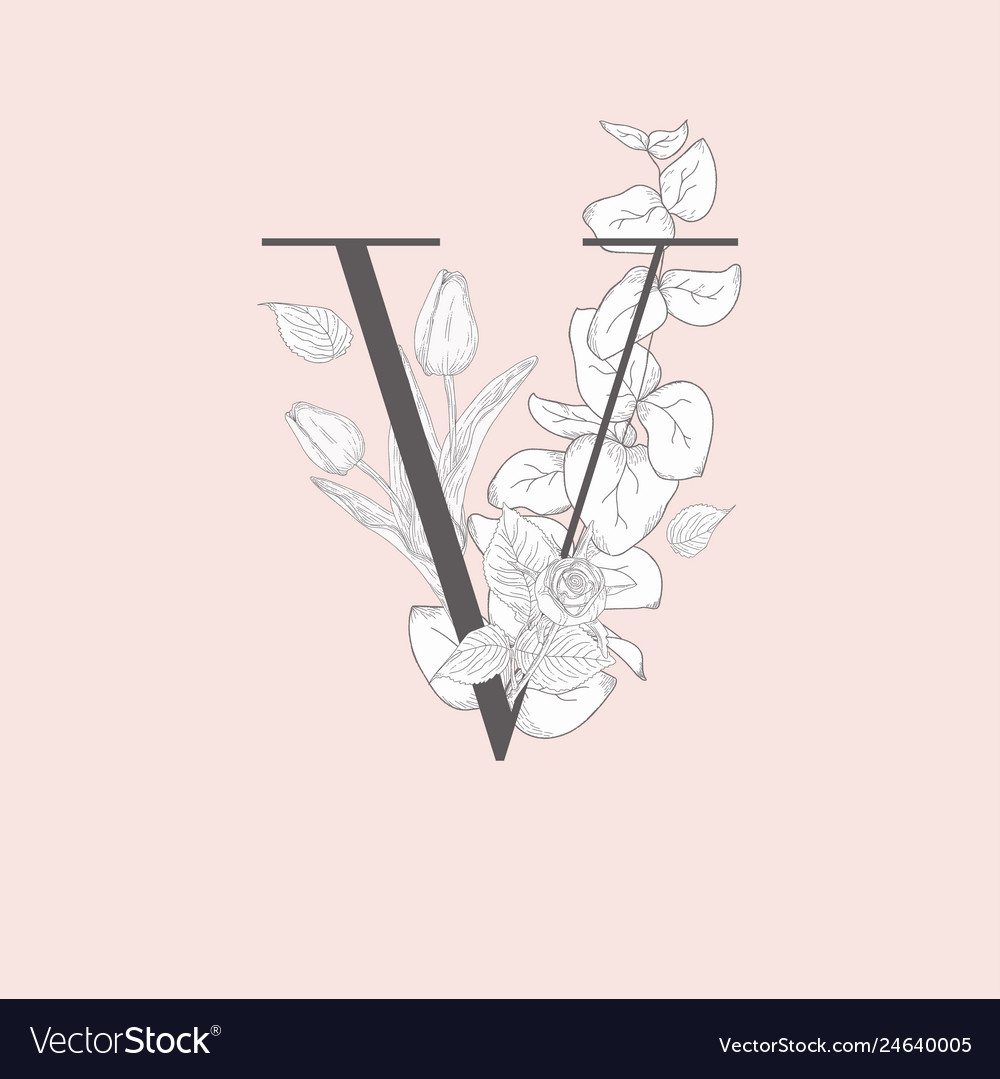 Blooming floral elegant v monogram and logo
