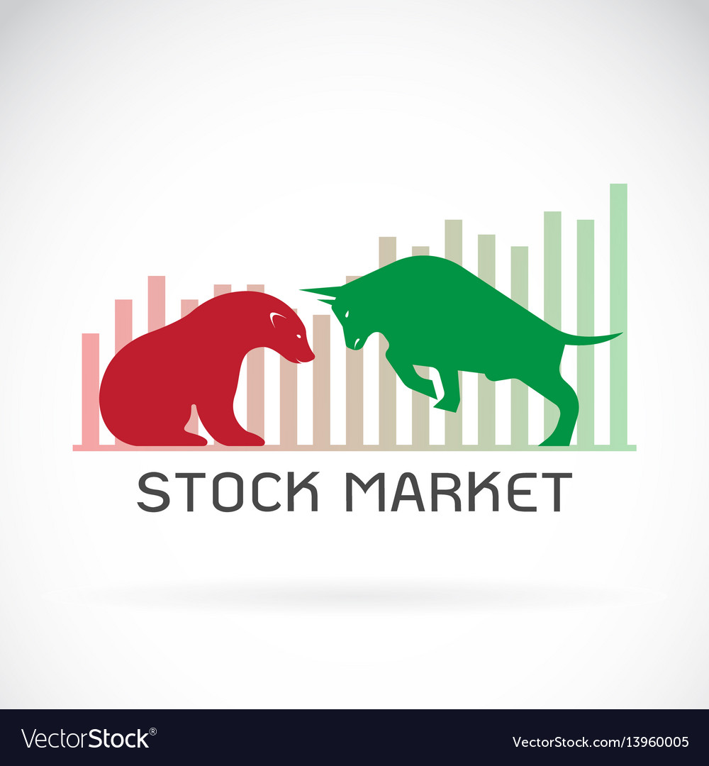 Bull and bear symbols of stock market trends the
