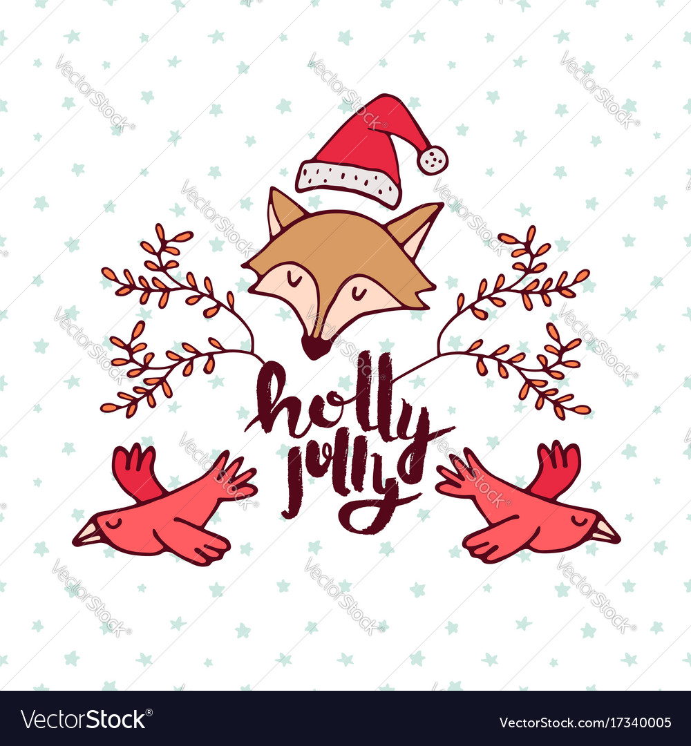 Christmas forest fox cartoon holiday greeting card
