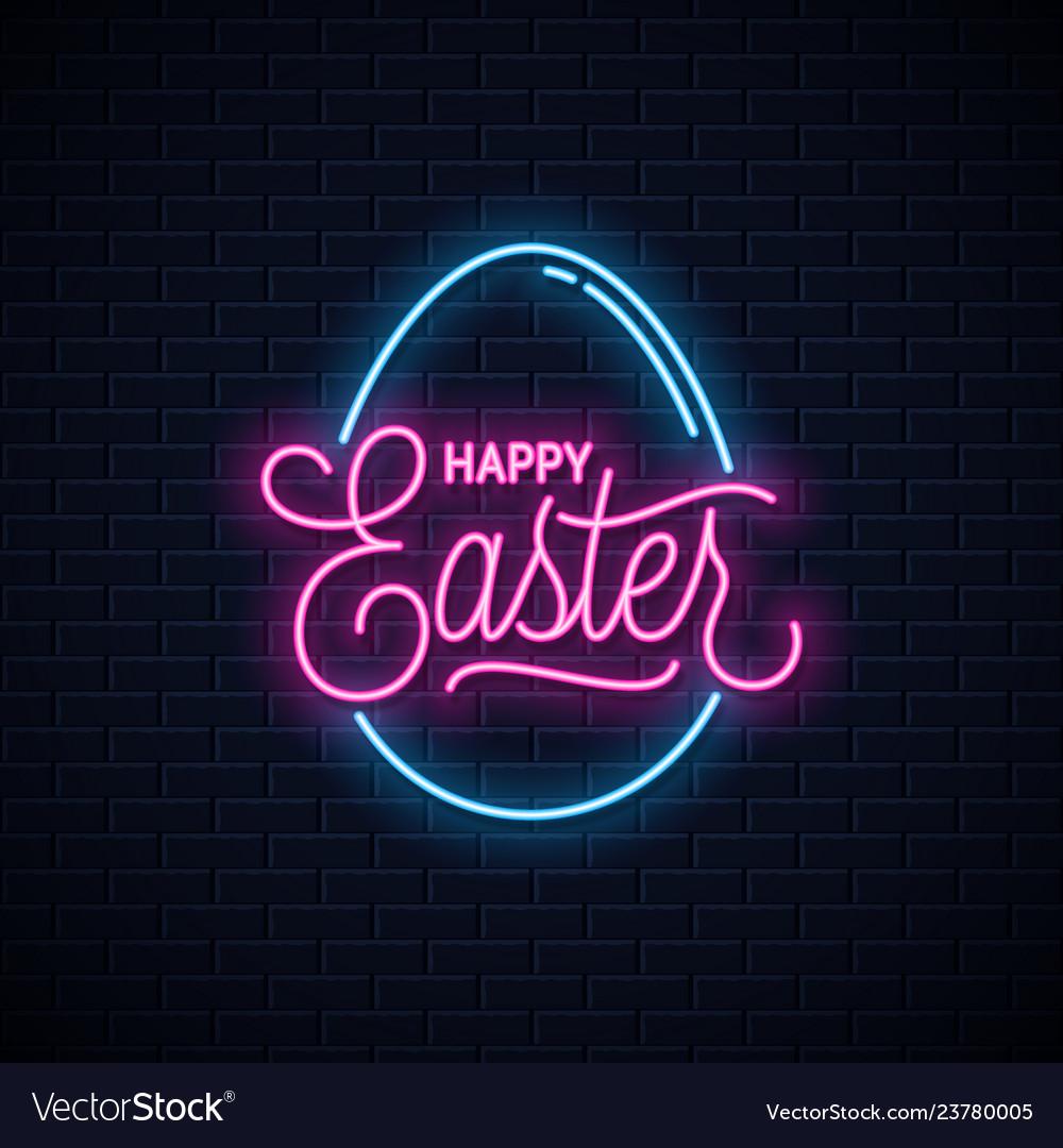Happy easter neon sign easter egg neon banner