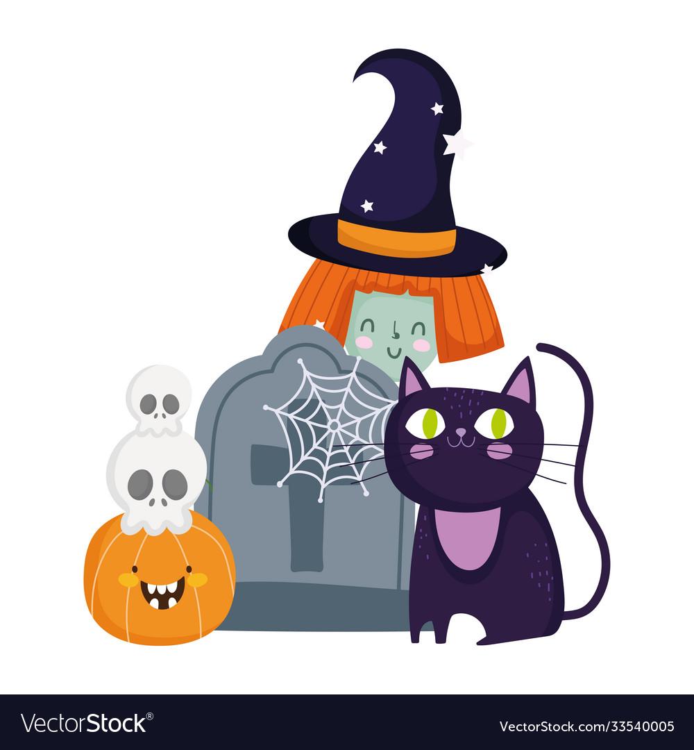 Happy halloween witch cat tombstone skulls