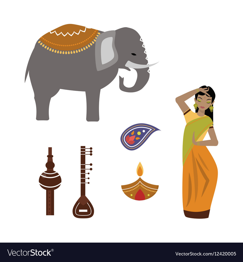 India animals and woman icons