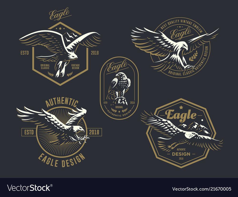 Set vintage logo with eagle