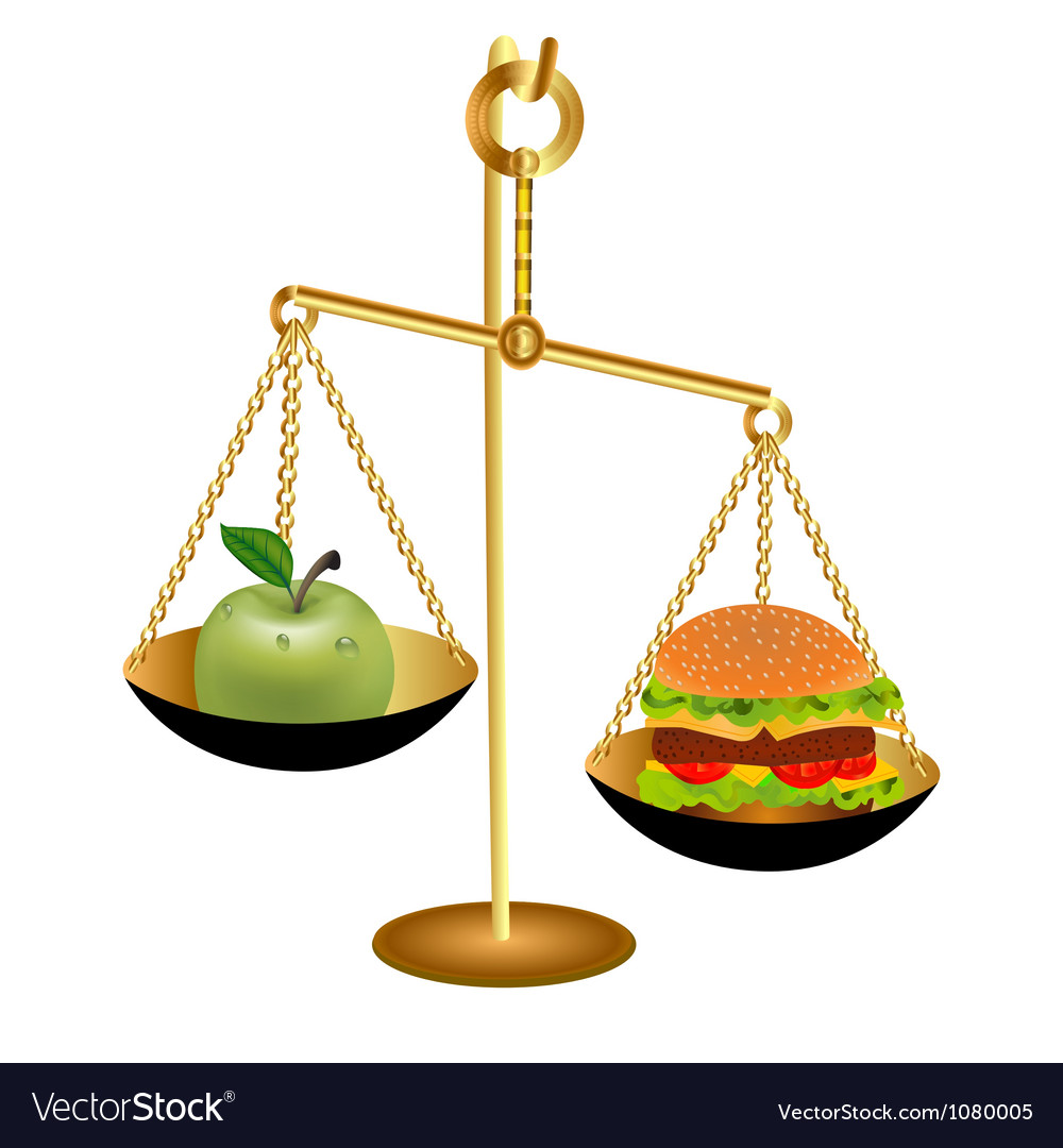 The comparison of the weight of an