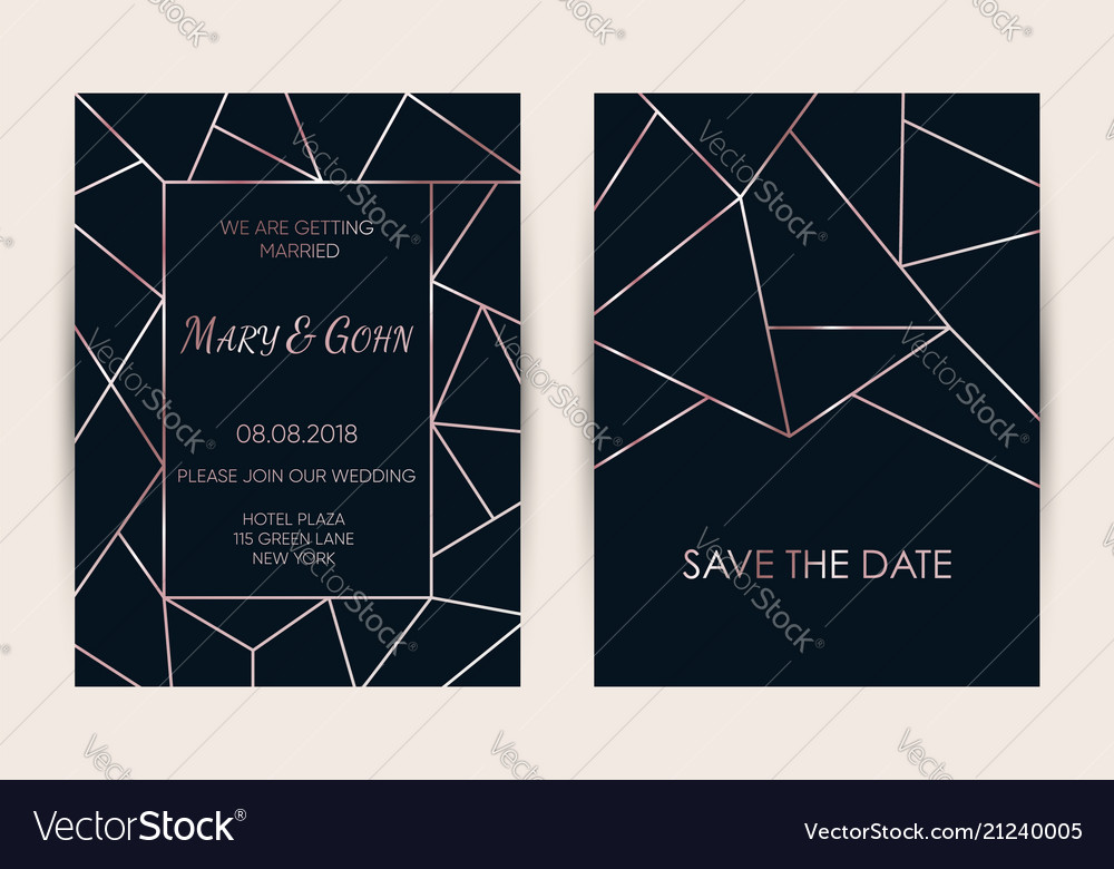 Wedding invitation card set modern design Vector Image