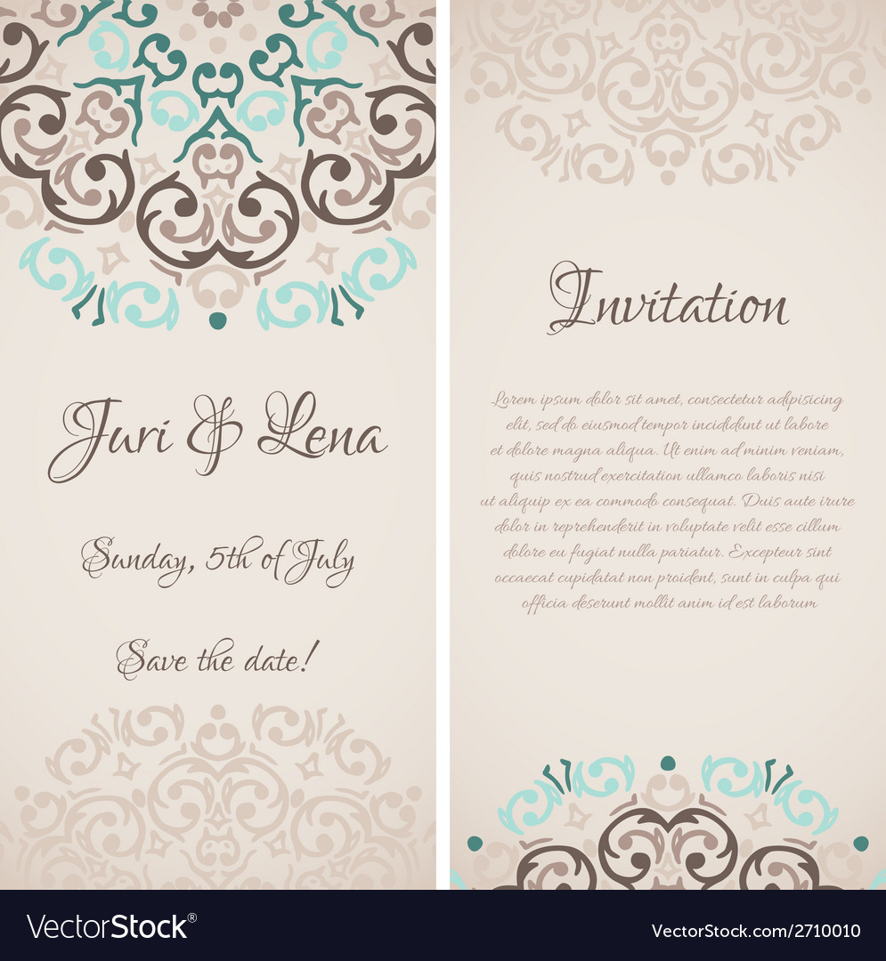 Baroque damask wedding invitation banners with a