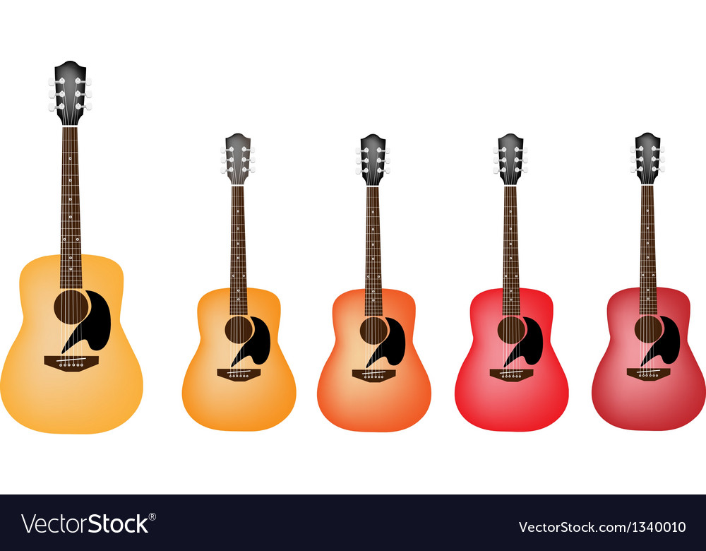 Beautiful Red And Orange Colors Of Acoustic Guitar