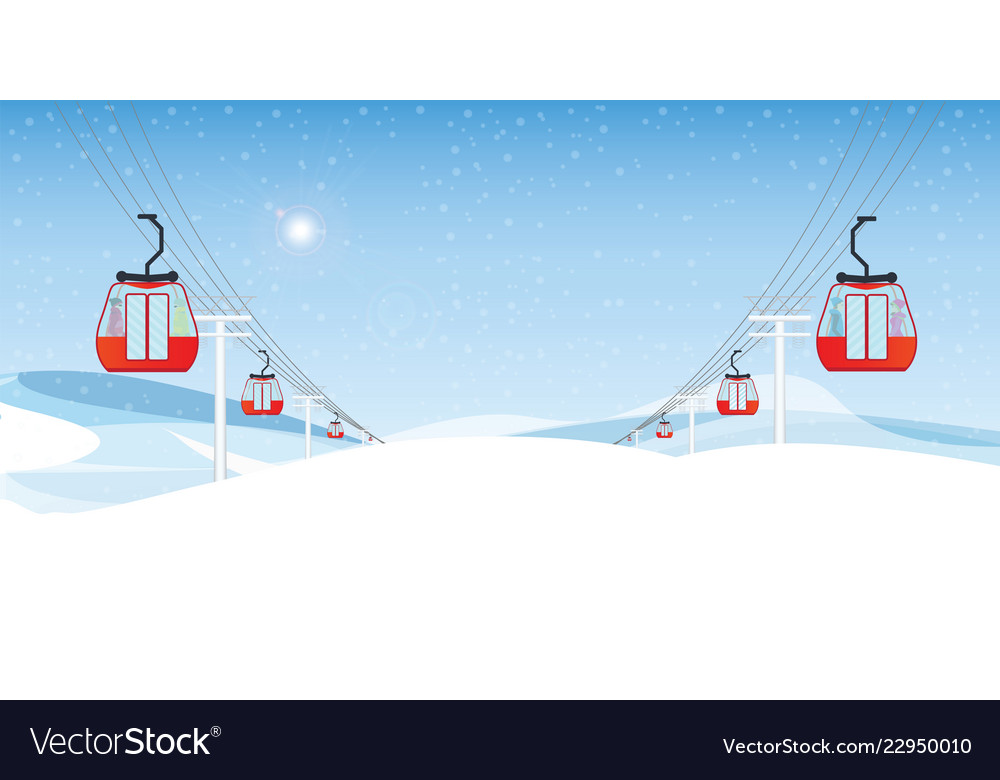 Cable cars or aerial lift with people moving