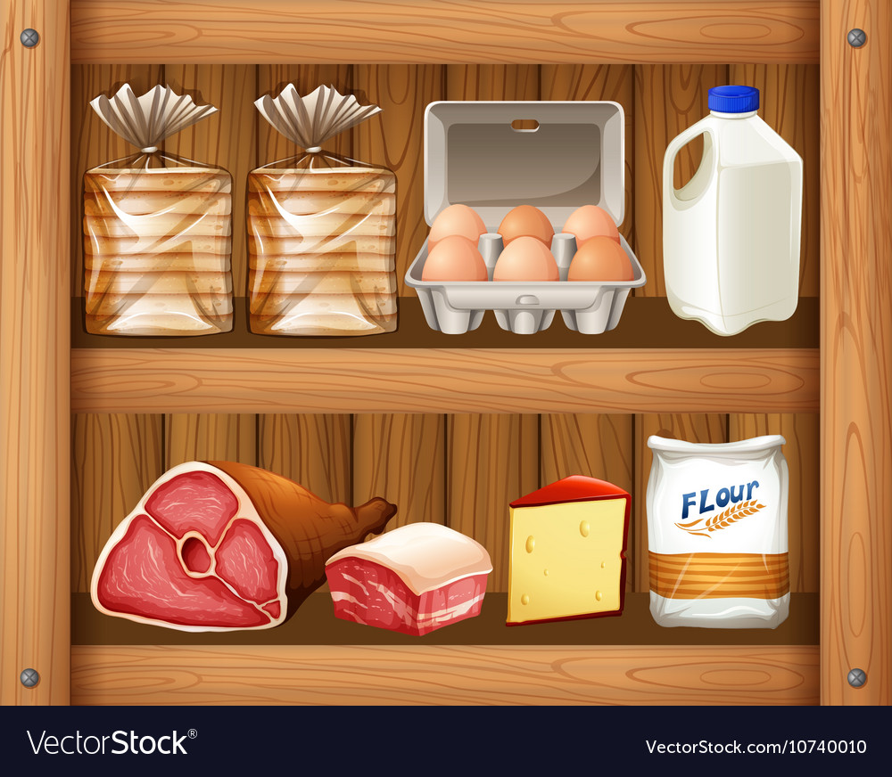 Different kinds of food on wooden shelf vector image