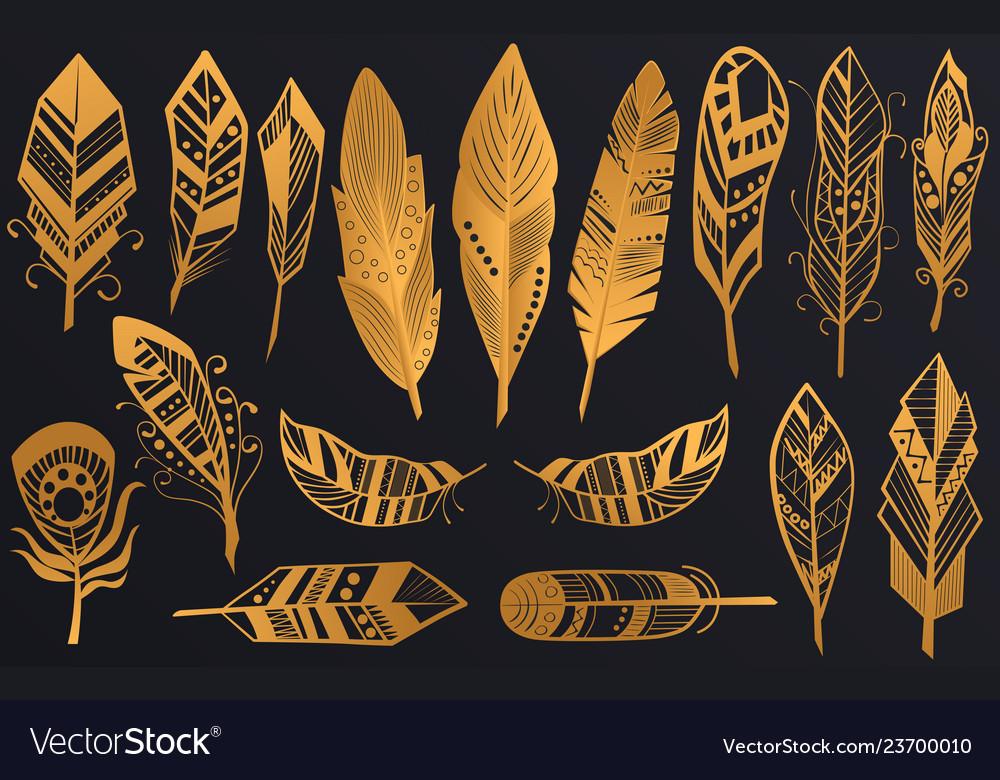 Golden luxury tribal feathers set gold boho