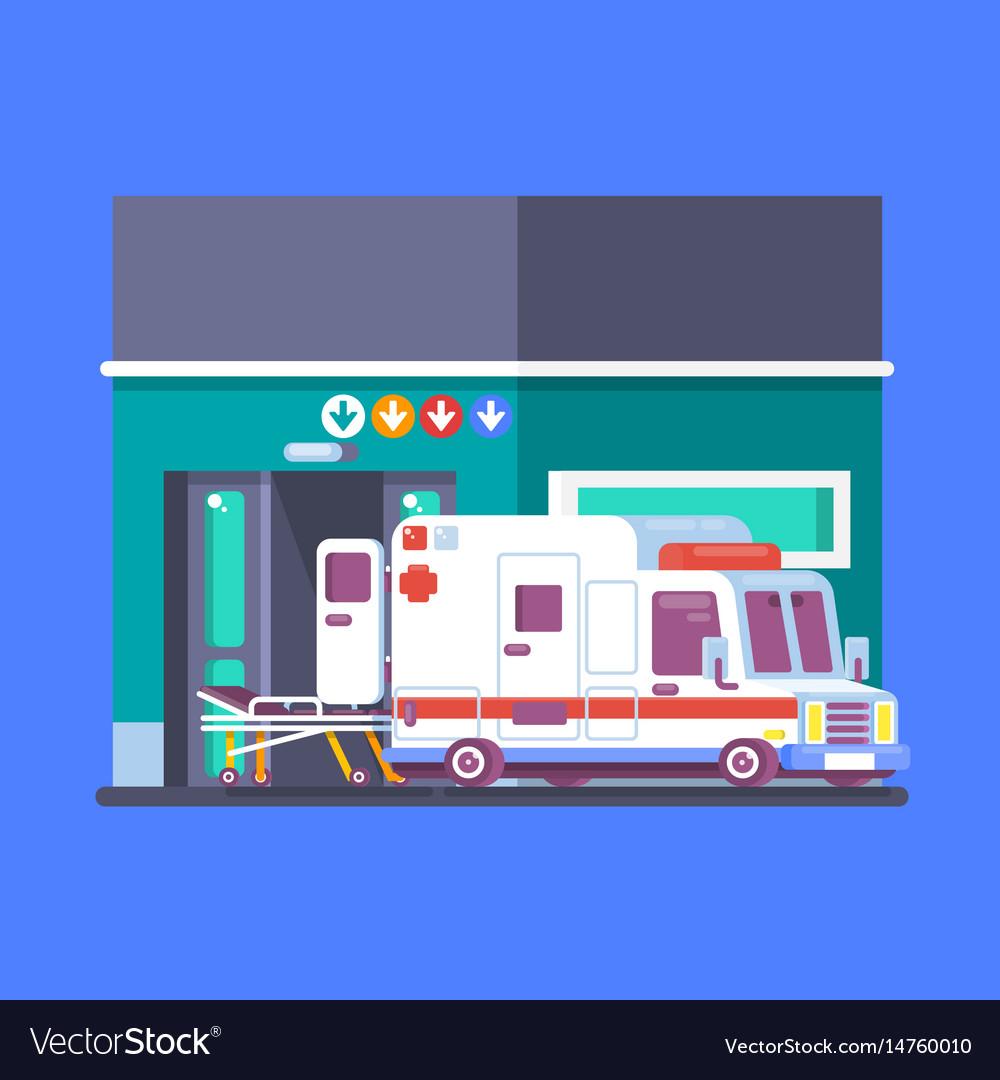 Hospital building with ambulance urban background