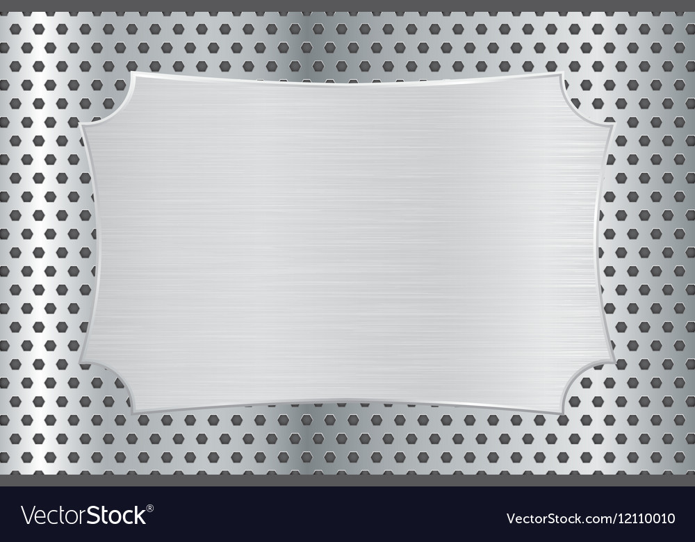 Metal decorative plate on perforated background vector image