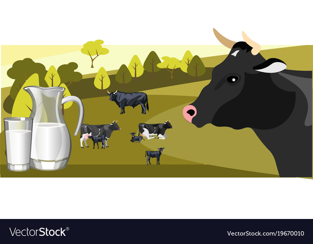 Milk and dairy on a background of green lawn and
