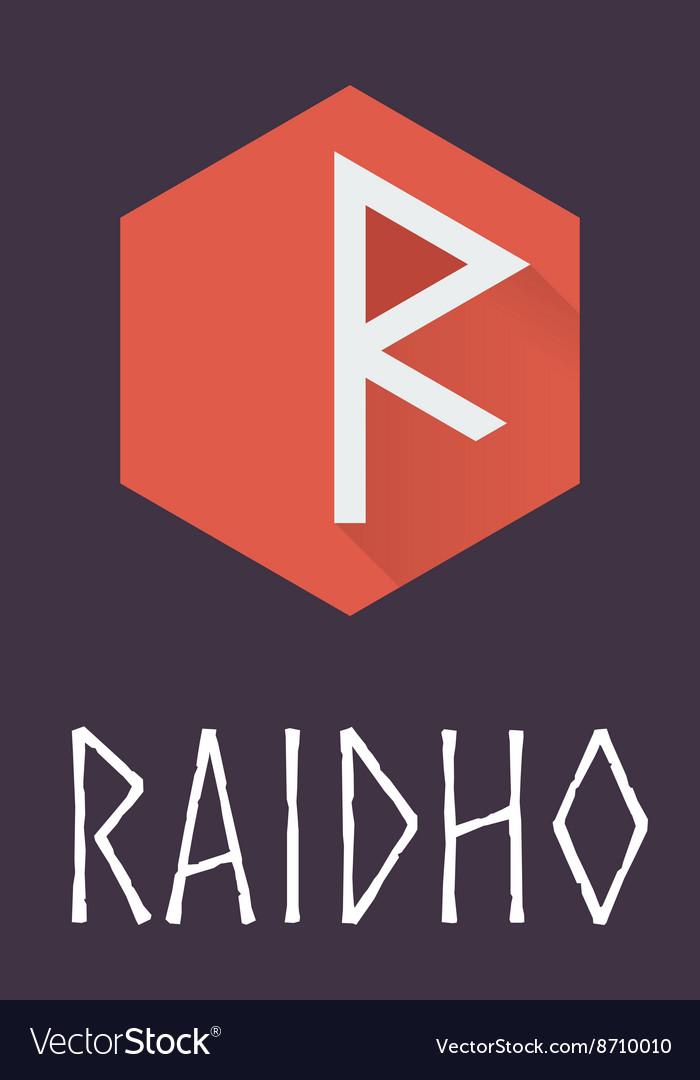 Raidho rune of Elder Futhark in trend flat style