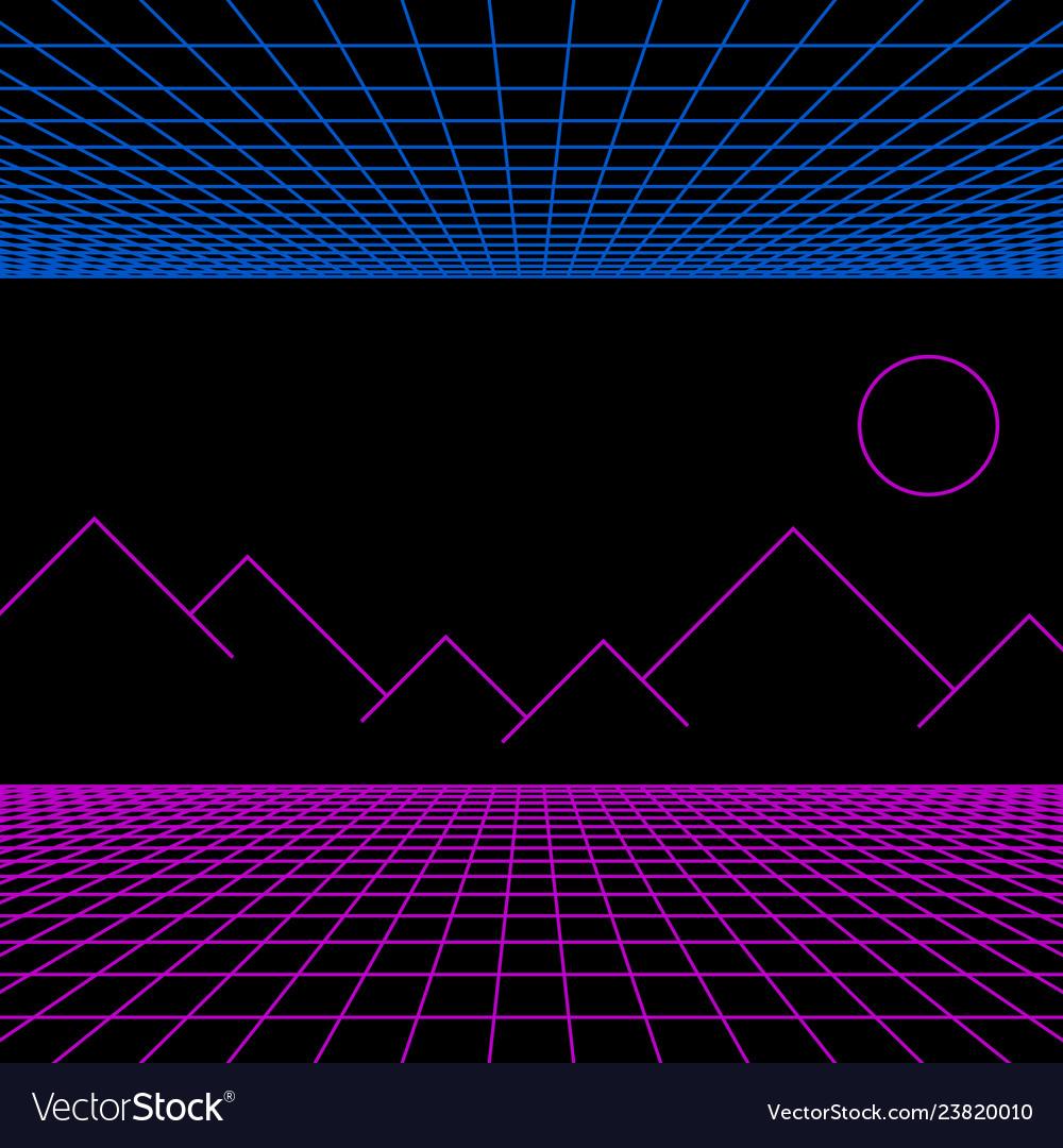Retro neon light synthwave sci-fi background