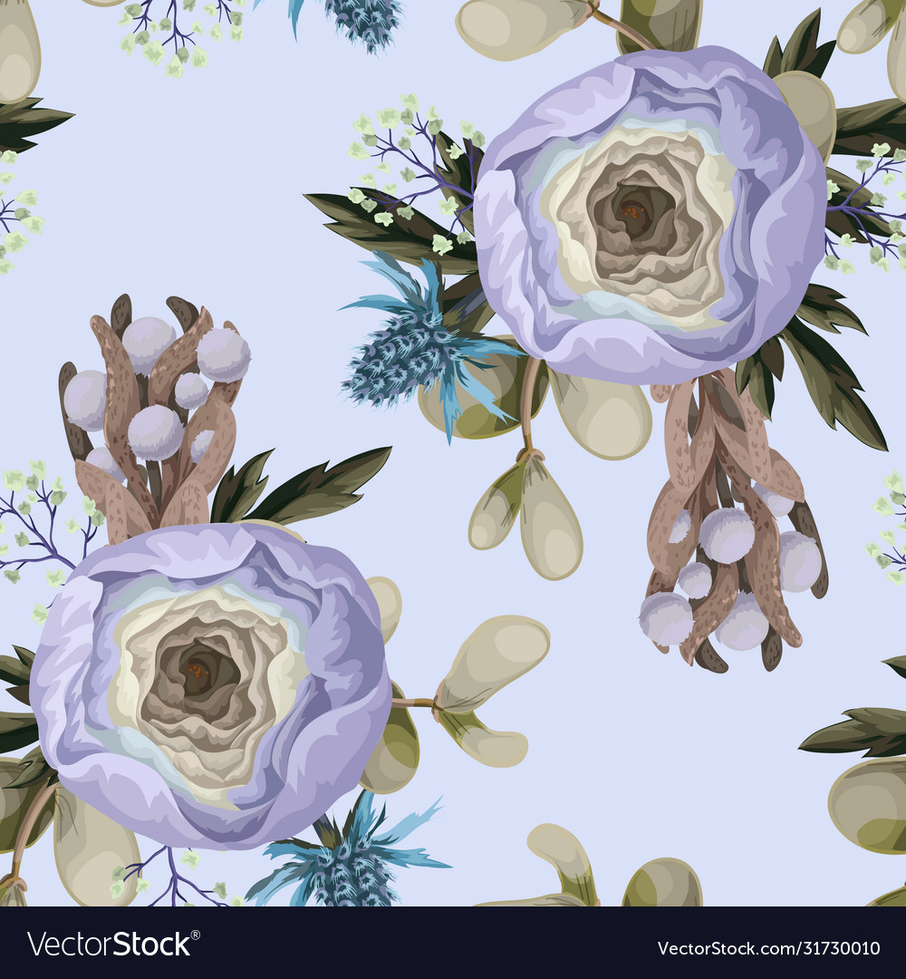 Seamless pattern with delicate ranunculus