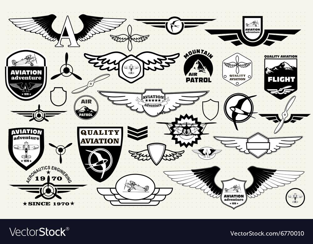 Set emblems elements badges logo Aviation