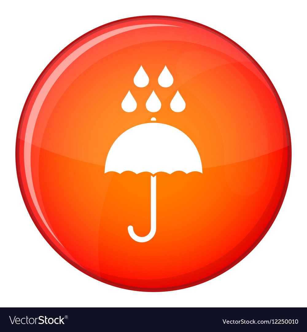 Umbrella and rain drops icon flat style