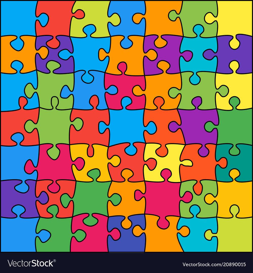 49 multicolor outline background jigsaw banner