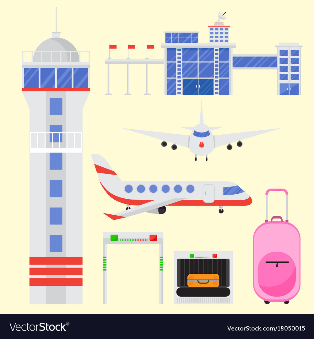 Aviation icons set airline graphic airplane