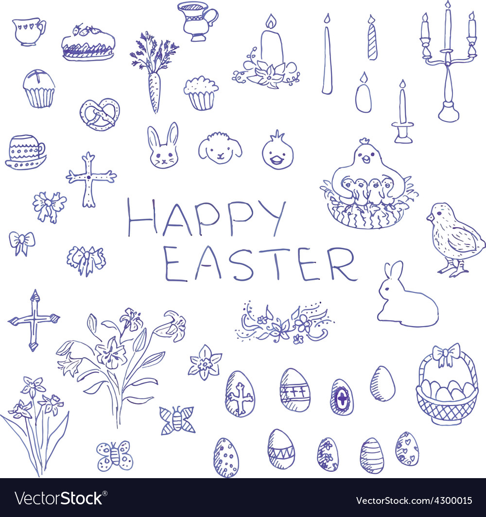 Big set of hand-drawn sketchy Easter objects