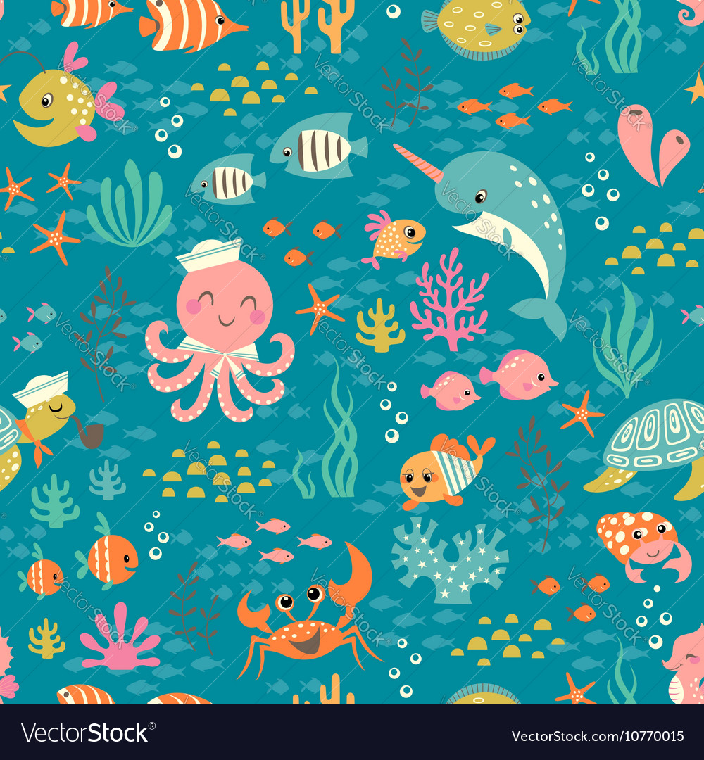 Happy underwater life pattern