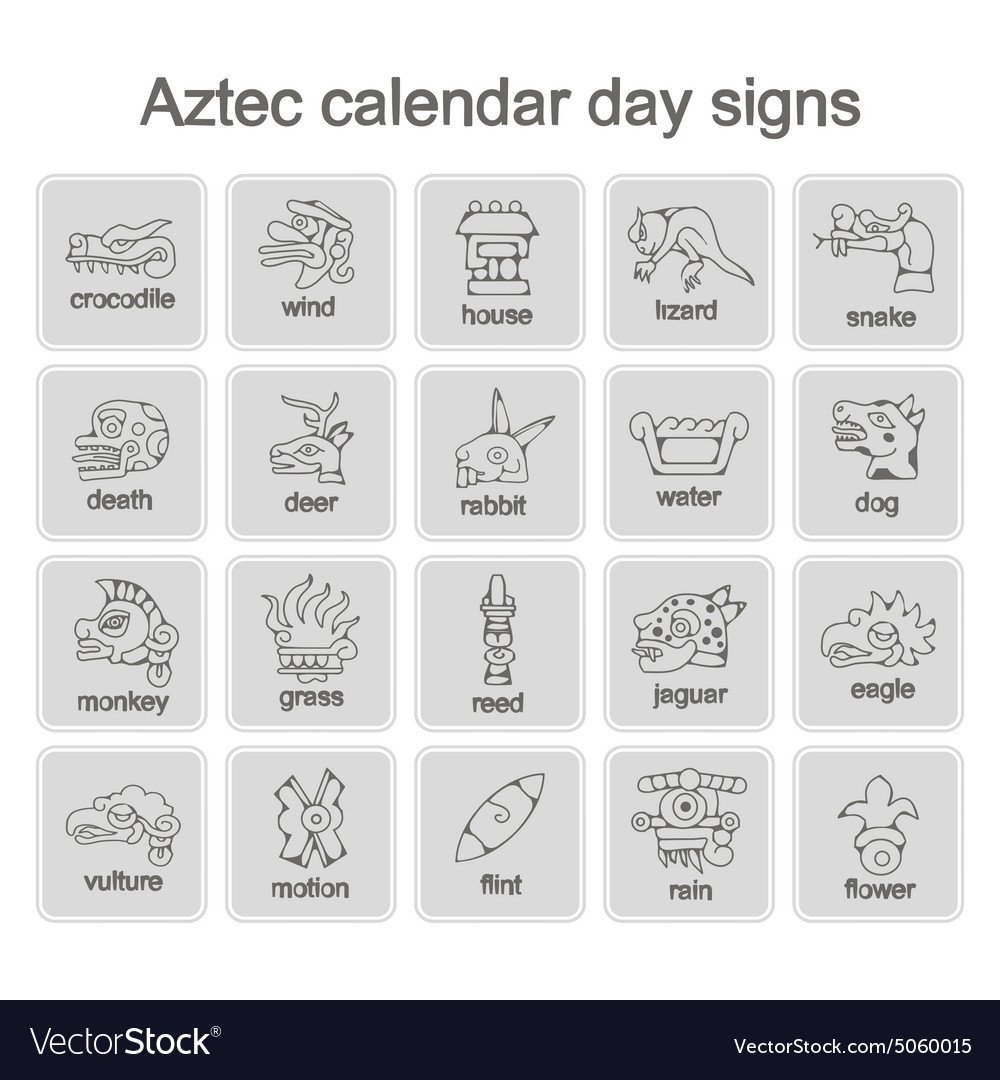Icons With Aztec Calendar Day Signs Royalty Free Vector