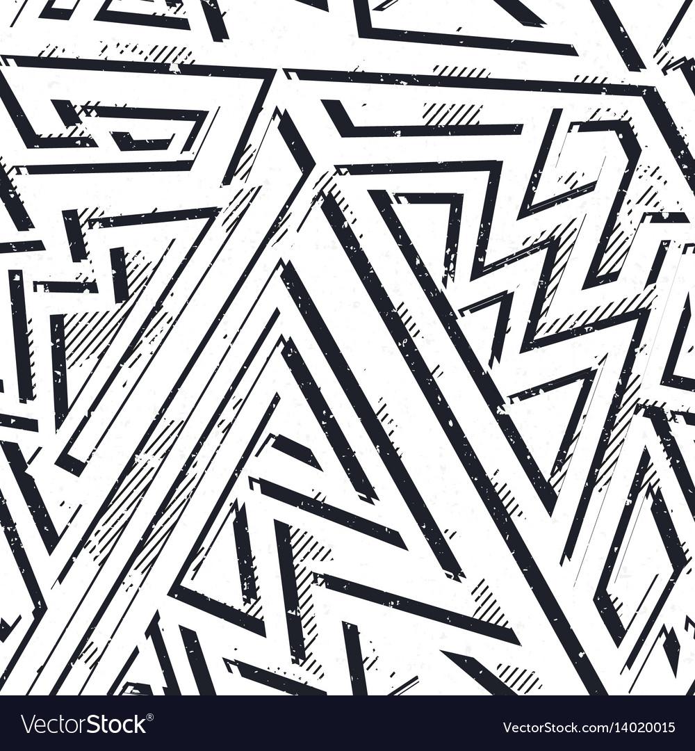 Monochrome grunge geometric seamless pattern