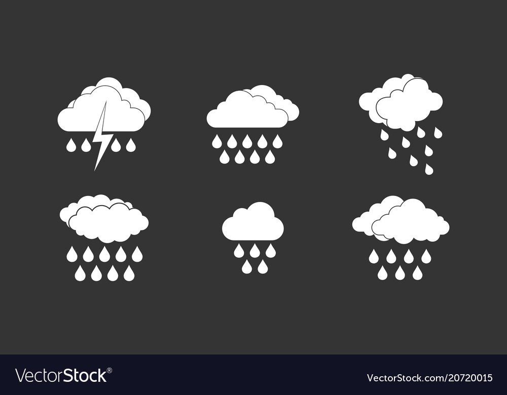Rainy cloud icon set grey