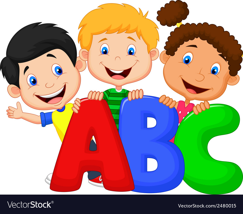 school kids cartoon with abc royalty free vector image clip art of kids learning Eating Clip Art