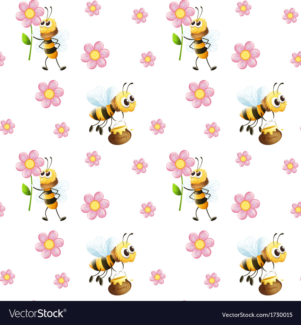 Seamless design with bees and flowers