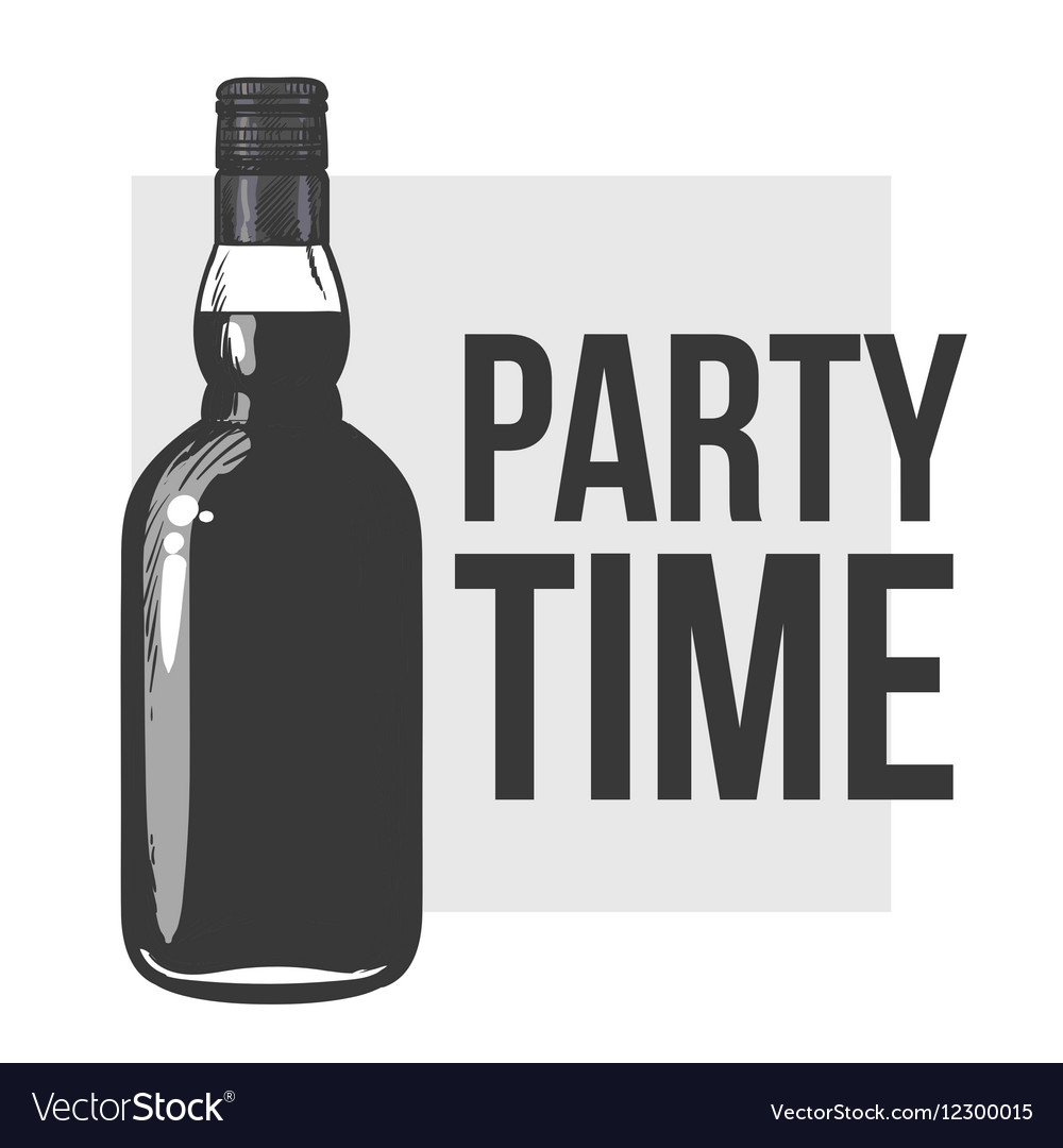 Whiskey bottle and hand holding a glass vector image