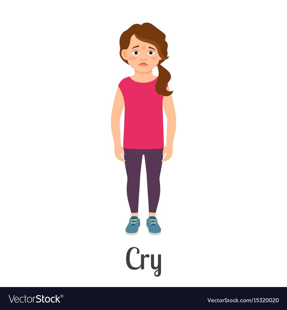 Cartoon little girl crying vector image