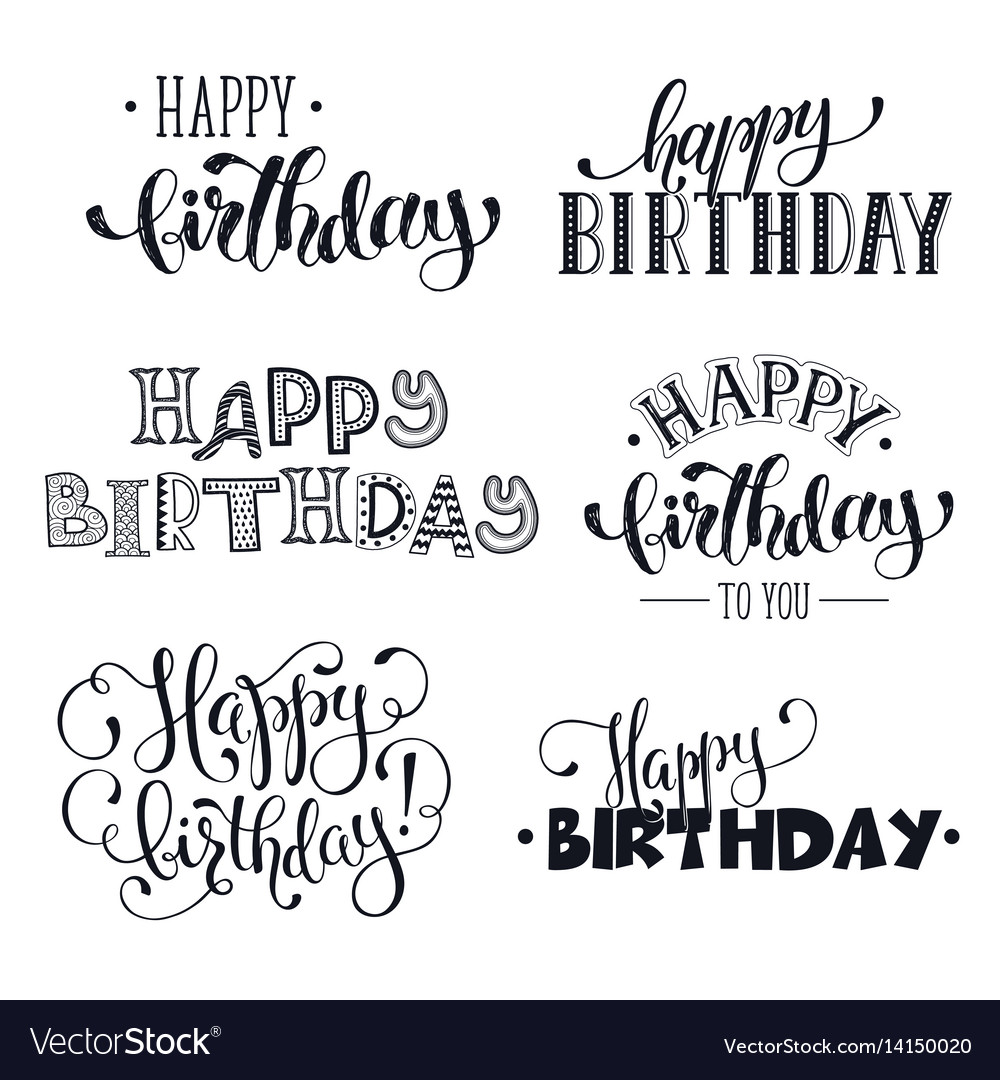 Hand written happy birthday phrases